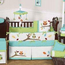 Hooty Turquoise and Lime Crib Bedding Collection