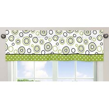 """Lime and Black Spirodot 54"""" Curtain Valance"""