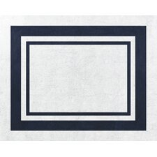 Hotel White and Navy Floor Rug