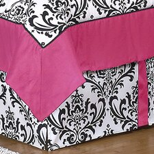 Isabella Hot Pink, Black and White Queen Bed Skirt