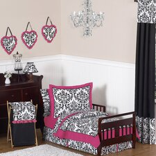 <strong>Sweet Jojo Designs</strong> Isabella Hot Pink, Black and White 5 Piece Toddler Bedding Set