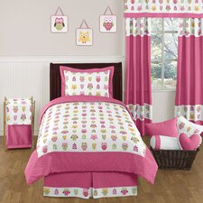Owl Pink 4 Piece Twin Bedding Set
