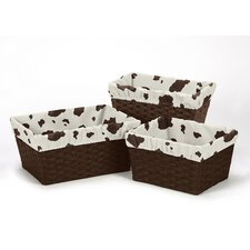 <strong>Sweet Jojo Designs</strong> 3 Piece Cow Print Basket Liner Set