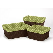 3 Piece Forest Friends Polka Dot Print Basket Liner Set
