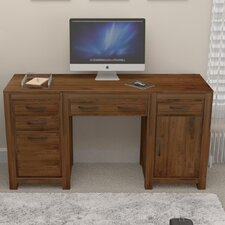 Mayan Walnut 5 Drawer Computer Desk