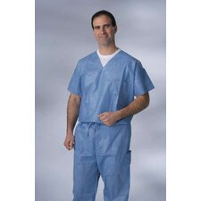 Disposable V-Neck Scrub Shirt in Blue