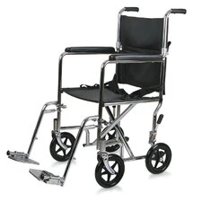 "Steel 17"" Ultra Lightweight Transport Bariatric Wheelchair with Permanent Full-Length Arms"