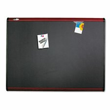 Prestige + Magnetic Fabric Bulletin Board with Mahogany Frame