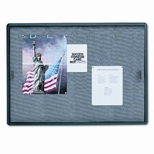 <strong>Quartet®</strong> Enclosed Bulletin Board, Fabric/Cork/Glass, 48 x 36, Gray, Aluminum Frame