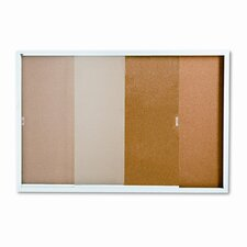 <strong>Quartet®</strong> Enclosed Cork over Fiberboard Bulletin Board with Aluminum Frame