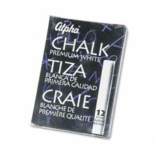 Alpha Nontoxic Low Dust Chalk, 12 Sticks/Pack