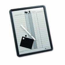 Employee In/Out Porcelain Board in Gray Black with Aluminum Frame