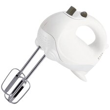 Five Speed Hand Mixer in White and Silver