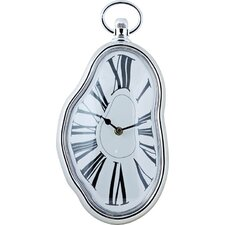 Dali Inspired Wall Clock in Silver