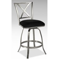 Audrey X Back Memory Swivel Counter Stool in Nickel Plated