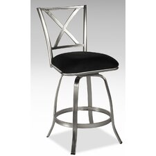 Audrey X Back Memory Swivel Bar Stool with in Nickel Plated
