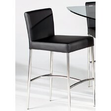 Cilla Leather Counter Stool in Black
