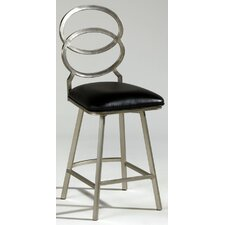 Nickel Plated Memory Return Swivel Counter Stool in Black