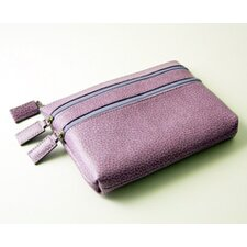 On the Go Pebble Grain Triple Zip Cosmetic Case