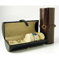 Travel Accessory Croco Calf Travel Jewel Roll in Brown