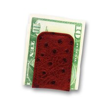 European Bidente Ostrich Calf Magnetic Money Clip