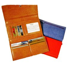 <strong>Budd Leather</strong> Continental Tri Fold Clutch Wallet