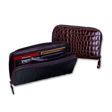 <strong>Budd Leather</strong> Crocodile Bidente Organizer Clutch