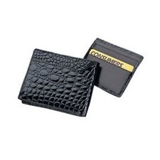 <strong>Budd Leather</strong> Crocodile Bidente Slim Wallet with Outside Card Case