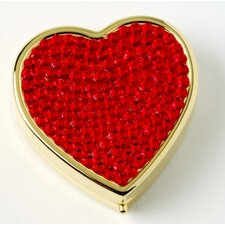<strong>Budd Leather</strong> Covered Heart Shape Pill Box