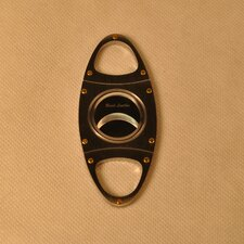 Stainless Steel Cigar Cutter with Gold Screws