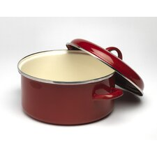 Enamel Casserole in Cranberry with Lid