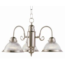 <strong>TransGlobe Lighting</strong> Back To Basics 3 Light Builder Chandelier with Halophane Glass Shades