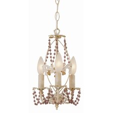 Crystal Flair 3 Light Mini Chandelier with Purple Crystal Beads