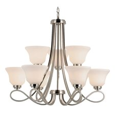 <strong>TransGlobe Lighting</strong> 9 Light Chandelier with Opal Shade