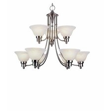 Contemporary 9 Light Chandelier with Fabric Shade