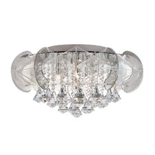 Flared Crystal 5 Light Flush Mount