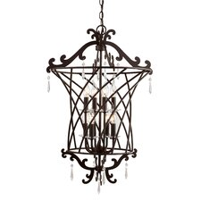 Basket Weaved 8 Light Foyer Pendant