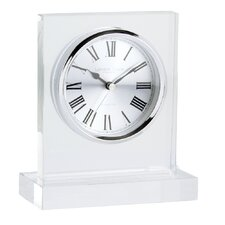 Square Top Glass Mantel Clock in Clear