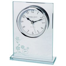 Flat Top Floral Mantel Clock