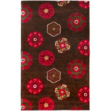 Smithsonian Chocolate Floral Area Rug