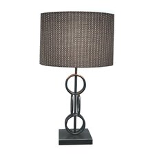 "Designer Bronze Metal Ring 24"" H Table Lamp with Drum Shade"