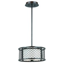 Chainlink 2 Light Mini Drum Foyer Pendant