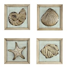 Plaque of Sea Shells Wall Décor (Set of 4)