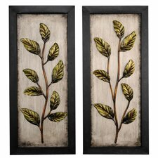 "14.5"" x 32"" Metal Leaf Wall Art (Set of 2)"