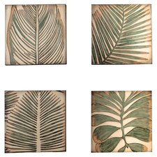 Palm Leaf Graphic Art on Plaque (Set of 4)