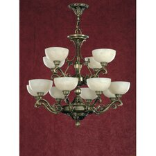 Arana Twelve Light Traditional Chandelier in Dark English Bronze