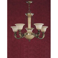 Santos Five Light Traditional Chandelier in Dark English Bronze