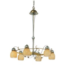 Rimini Six Downward Light Chandelier in Vintage Gold
