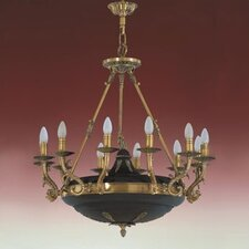 <strong>Zaneen Lighting</strong> Morain Twelve Light Traditional Chandelier in English Bronze and Black Suede