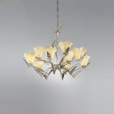 <strong>Zaneen Lighting</strong> Rovigo Nine Light Chandelier in Weathered Silver